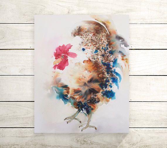 Rooster watercolor-haan schilderij-jaar van de haan