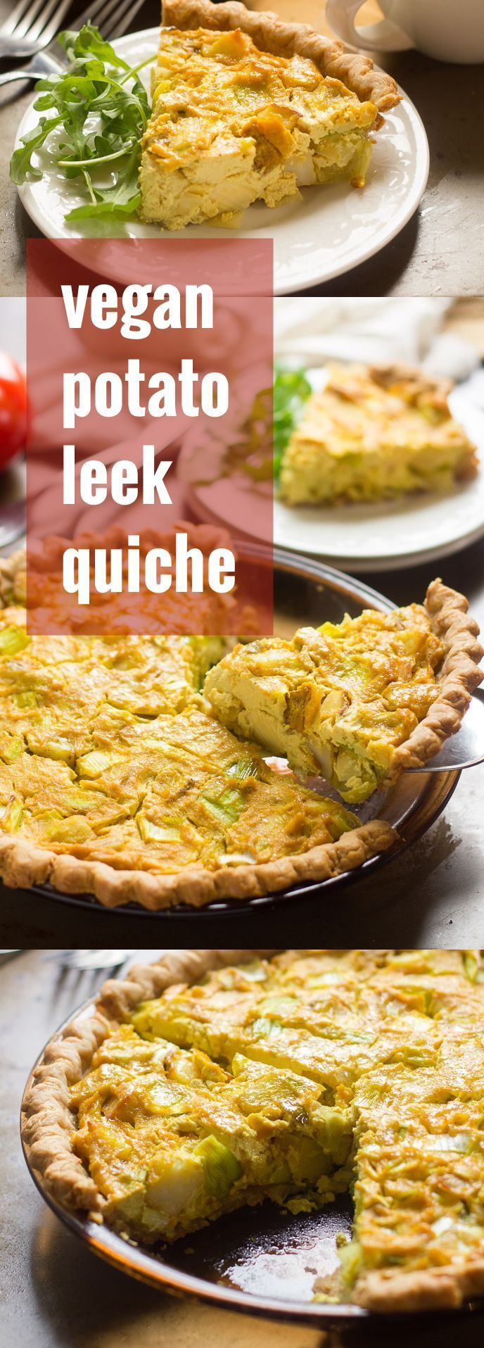 This vegan quiche is made with a savory mix of tofu, crispy potatoes and leeks, all baked up to tender perfection inside a flaky crust.
