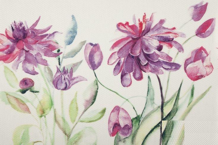 Prostírání na stůl bílé barvy s motivem růžových a fialových květů