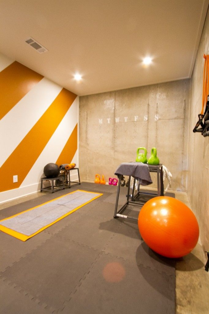 HGTV Smart Home Workout room with funky orange stripes. I like the wide stripes on an angle