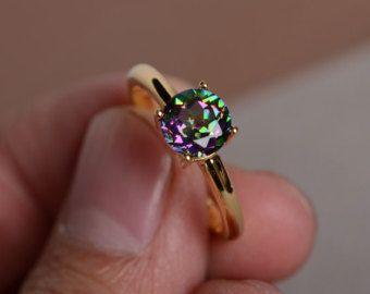 Mystic Topaz Ring Silver Rainbow Gemstone Ring by KnightJewelry
