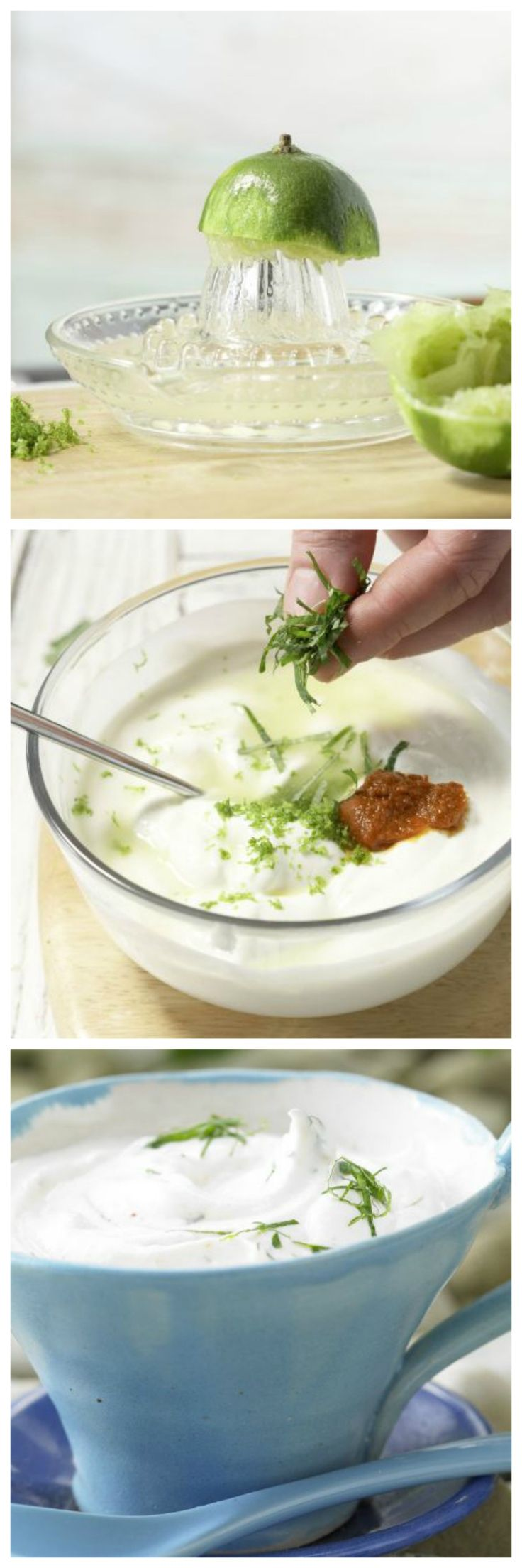 Harissa gibt dem säuerlichen Dip eine feurige Schärfe: Scharfer Limetten-Dip mit Zitronenmelisse   http://eatsmarter.de/rezepte/scharfer-limetten-dip