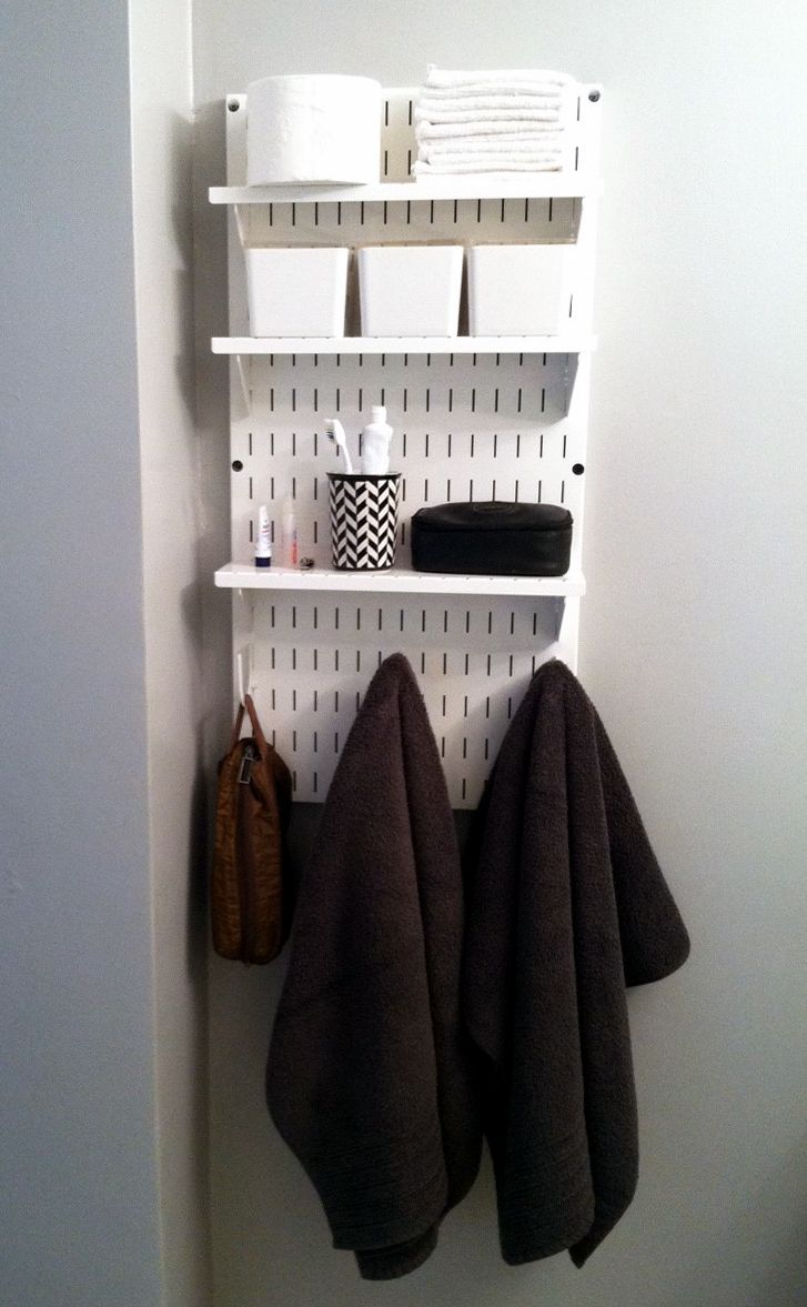 A single Wall Control Slotted Pegboard Panel can create valuable and attractive wall-storage in tight areas where storage space comes at a premium, like this bathroom wall. Thanks to Wall Control's panel design with clean, modern lines it is easy to create additional storage space in cramped quarters while giving your wall an attractive face lift. Thanks for the great photo Susan!