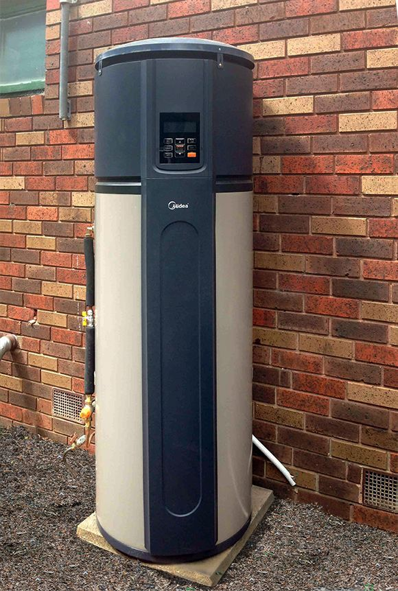 A heat pump hot water heater absorbs heat from the air and transfers it to heat the water; it is run on electricity and when using the right conditions are more energy efficient, which is saving money and also reducing greenhouse gas emissions. They are 3 times more efficient than your normal mains pressure hot water heater.  They work similar to a refrigerator; however they pump heat into the water, whereas a refrigerator pumps heat out of the fridge to keep it cool.