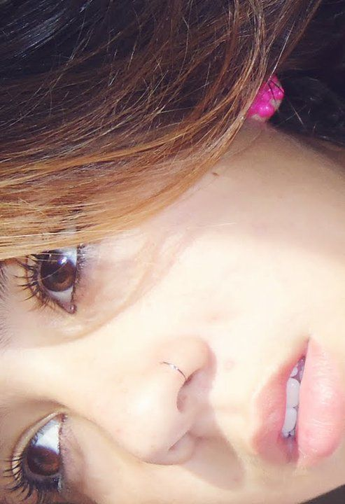 A very thin, very subtle nose ring.