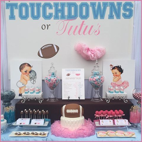 Sweets table from our Touchdowns or Tutu's Gender Reveal! #TouchdownsOrTutus #PINKorBLUEweLOVEyou💙💖 #OurBabyMarquez2016 #celebrate #pink #blue #football #Tutus #SpecialDay #Family #BabyLove #custombackdrop #sweetsbuffet #eventplanning #eventstyling | Awesome football and tutu cake by @stephssweetcakes | Cake pops and sugar cookies by @candysweetreats | Personalized Hershey's Candy Bar Wrappers by @distinctivepartydesigns
