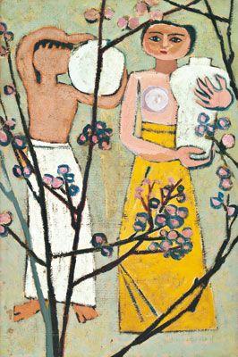kim whan-ki, women, plum blossoms and far, 1956