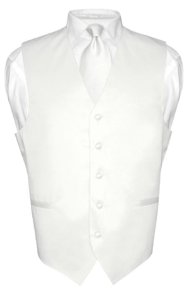 Men's Dress Vest & NeckTie Solid WHITE Color Neck Tie Set for Suit or Tuxedo