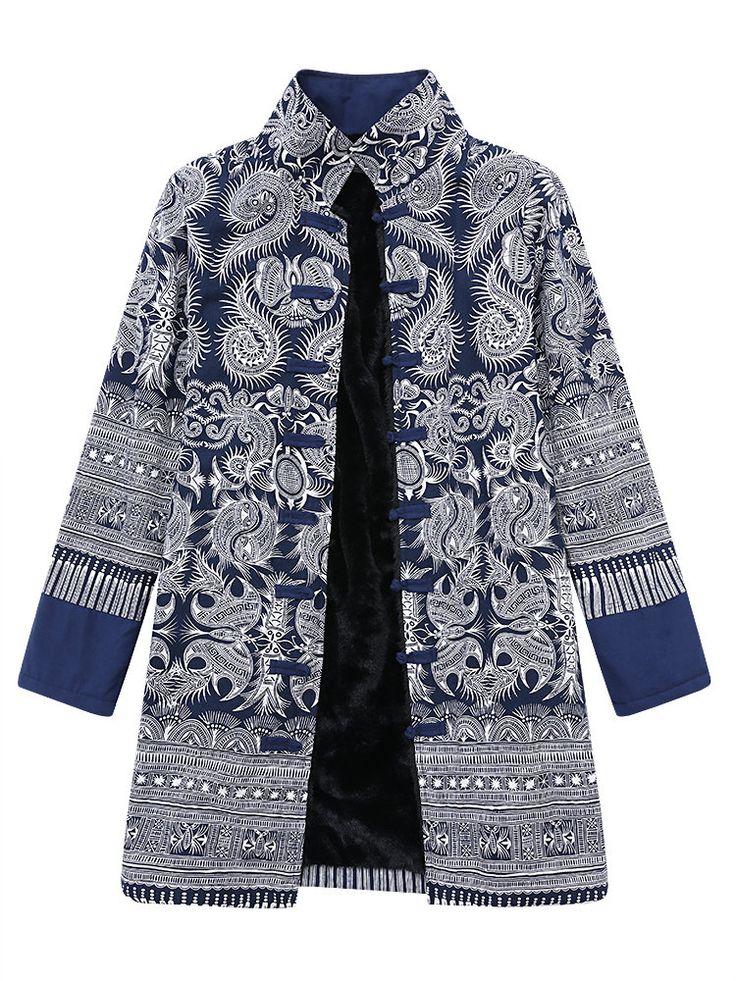 Gracila Women Ethnic Printed Fleece Inside Plate Buckle Vintage Coats