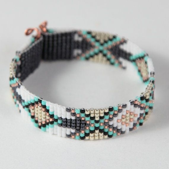 Tribal Diamonds Bead Loom Bracelet Bohemian Boho Artisanal Jewelry Indian Western Beaded Southwestern Turquoise Brown Santa Fe