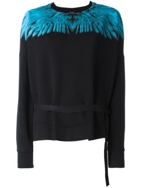 Black+cotton+'Daina'+sweatshirt+from+Marcelo+Burlon+County+of+Milan+featuring+a+crew+neck,+long+sleeves,+long+sleeves,+a+tie+fastening,+a+straight+hem+and+a+blue+wing+print+to+the+neckline. http://rfbd.cm/rp965708db