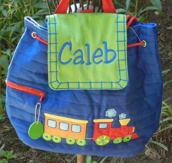 Personalized Stephen Joseph train backpack by sewblessedstitches, $22.75