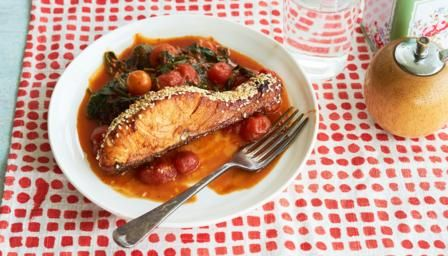 BBC Food - Recipes - Balsamic-glazed sesame salmon with spicy cherry tomatoes and spinach
