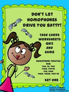 Teaching homophones can be as frustrating as learning them! Even adults confuse them all the time. This 40 task card resource will help your students practice homophones not only with task cards, but with worksheets, a quiz and a game. Four sets of the most missed, high frequency homophones are included in this resource (there, their, they're, for, four, your, you're, to, too, two). $