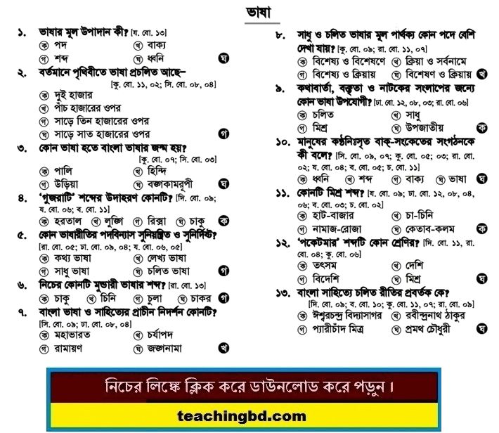 SSC MCQ Question Ans. Bangla Vasha 2017