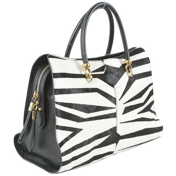 Pre-owned Tod's Handbag -- Black And White Bauletto Sella Medium Calf... ($1,493) ❤ liked on Polyvore featuring bags, handbags, tote bags, purses, zebra tote bag, pre owned handbags, black and white purse, structured tote bag and zip top tote bag