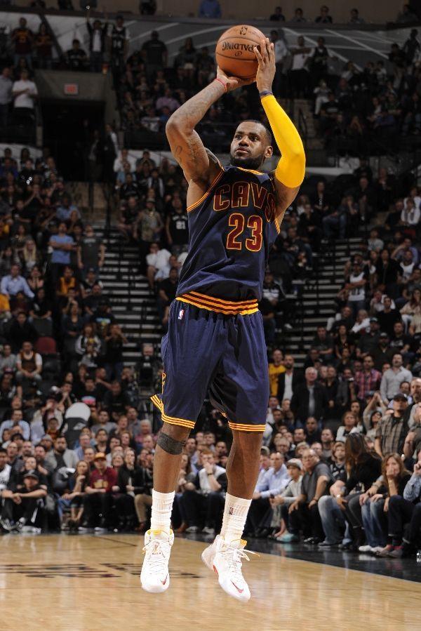 LeBron James wearing a Nike LeBron 12 PE