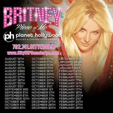 BRITNEY SPEARS TICKETS August - February at Planet Hollywood Las Vegas. Contact 702.741.CITY(2489) City VIP Concierge for TICKETS and the Best of Any & Everything Fabulous in Las Vegas!!! CALL OR CLICK TO BOOK www.CityVIPConcierge.com