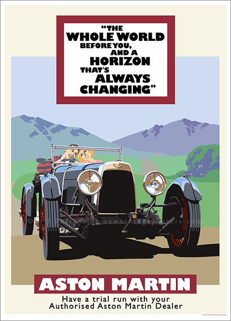 Art Deco Aston Martin poster by Bill Philpot at newvintageposters.com