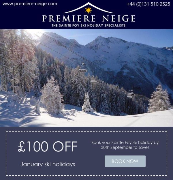 £100 off January ski holidays! Don't miss out on securing your next Sainte Foy escape!
