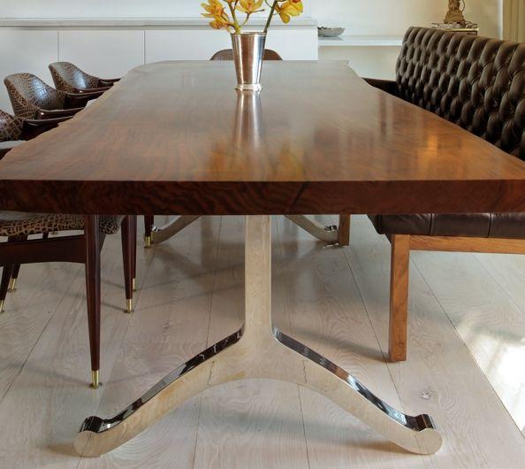 OREGON TABLE Single Walnut Wood Slab And Chrome Base Dining Table