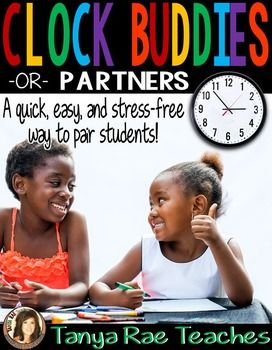 "FREE! Use Clock Buddies to quickly and easily pair students for partnered activities. This is an excellent way to avoid students always partnering with the same person, or partnering with someone they might not work well with. When you need your class to work in partners, just call out the time spot that is appropriate, ""Get with your six o'clock buddies."" Note: For older students, you can change the name to ""Clock Partners""."