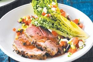 Lemon & oregano marinated lamb with Greek salad