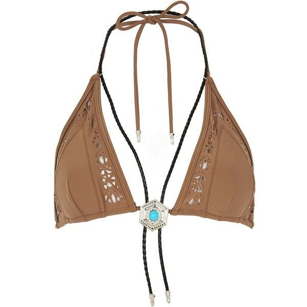 River Island RI Resort brown necklace bikini top ($52) ❤ liked on Polyvore featuring swimwear, bikinis, bikini tops, brown, swimwear / beachwear, women, brown tankini top, river island bikini, bikini swimwear and swimsuit tops