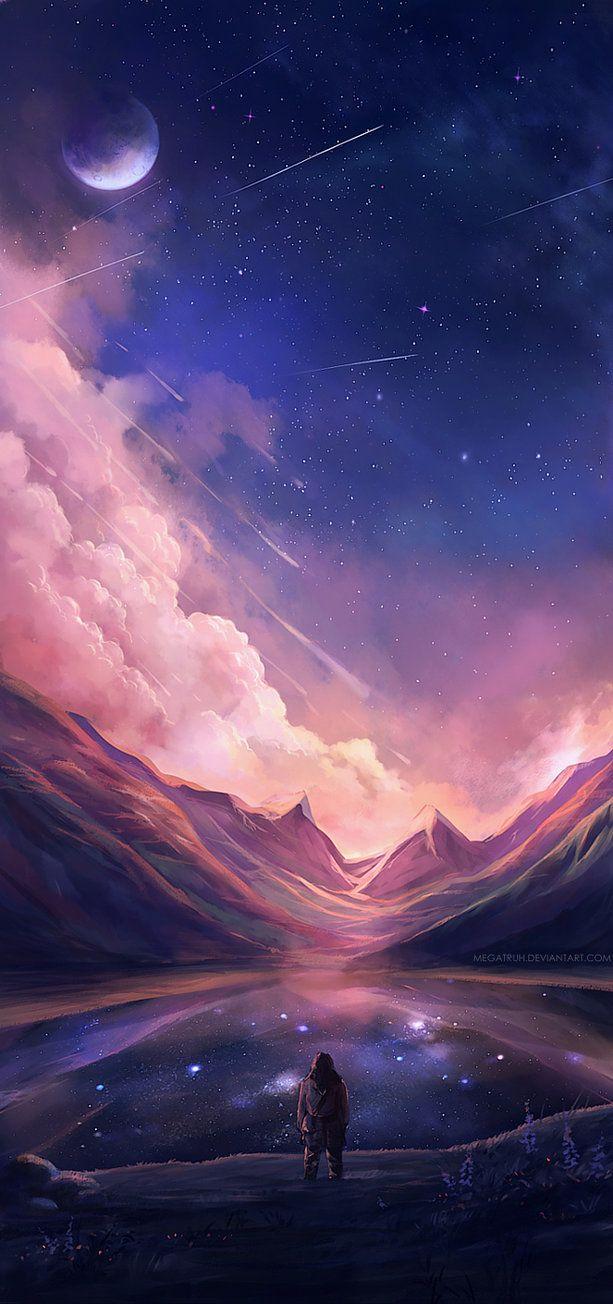 artiste inconnu. l'oeuvre est réaliser avec de l'acrylique. Le sujet principale est une personne qui regarde au loin les montagnes de dos. Il y a des couleurs plus chaude vers les montagne, il y a du rose et dans le ciel, dans les couleurs plus froide il y a le violet. J'aime l'oeuvre puisque je trouve l'oeuvre particulièrement original, sois par les teintes ou juste le sujet en général.