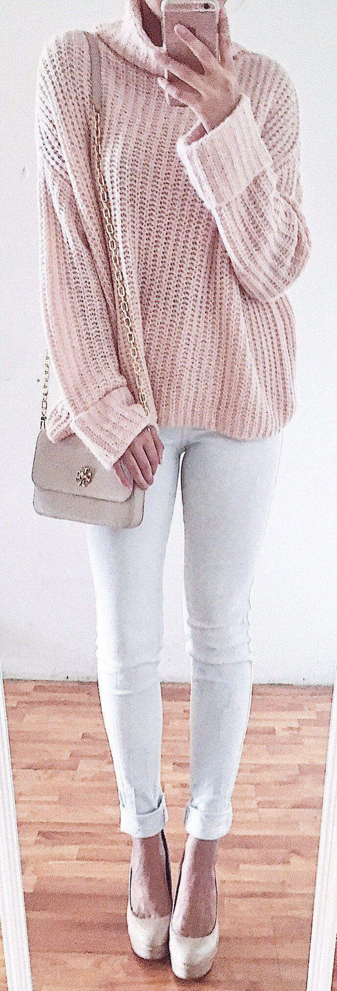 #spring #fashion /  Pink Turtleneck Knit / White Skinny Jeans / Beige Pumps