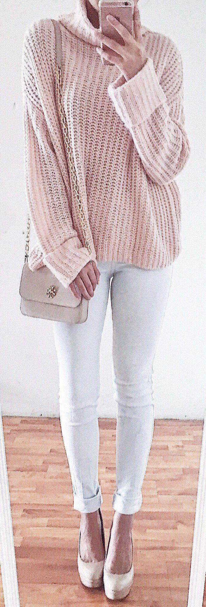 #spring #fashion /  Pink Turtleneck Knit / White Skinny Jeans / Beige Pumps