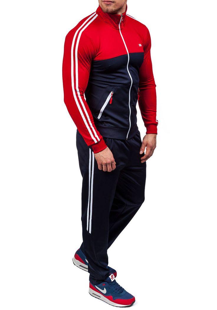 Granatowo-czerwony dres męski Denley 930