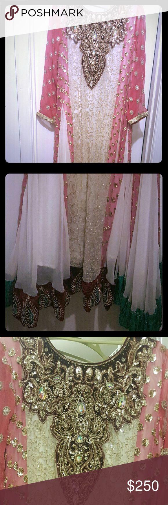 Pakistani shalwar kameez Pink and white anarkali shalwar kameez.  Comes with matching dupatta and pants. Dresses Maxi