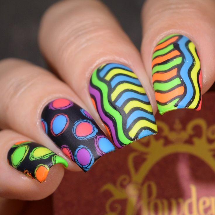Powder Perfect Stamping Plates and Nail Art 1980s neon
