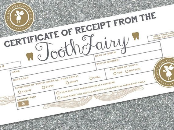 Do it yourself! PRINTABLE Tooth Fairy Receipts