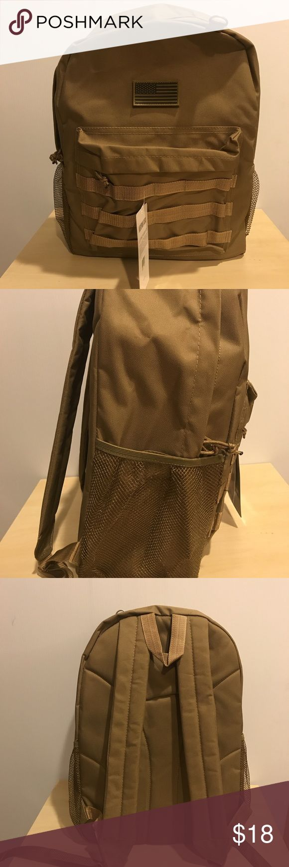"Tan Basic Tactical Backpack Nwt size 18""x13.5x7"" Basic backpack 1 full compartment and 1 front zip pocket, 2 mesh side pockets, D-ring, and comes with small American flag Velcro patch, with Molle straps on front pocket Bags Backpacks"