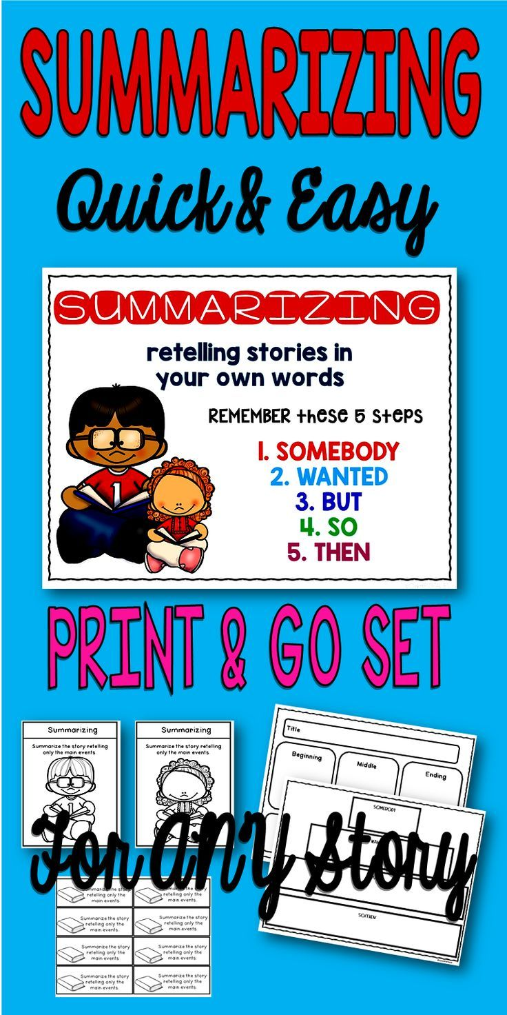 Summarizing quick and easy worksheets and posters for teaching students how to summarize with graphic organizers and fun lessons for any story. #summarizing #ela #iteachtoo #tpt #graphicorganizers #WritingTips #education #teachersofinstagram #teacherspayteachers