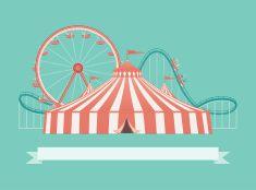 Welcome to the Carnival vector art illustration :: amusement park, carnival, fair, ferris wheel, circus