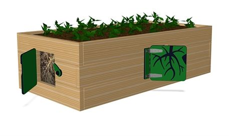 Box Planter with Window - M280 - Playground accessories and park furniture - Playground Equipment - KOMPAN