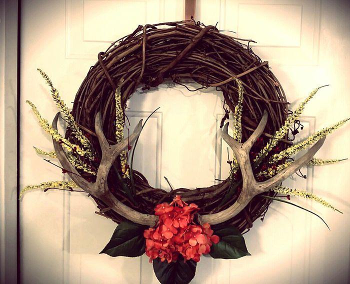 Wreath, Rustic, Decor, Antlers, Deer, Star, Burlap, Shabby-chic, Metal #Handmade