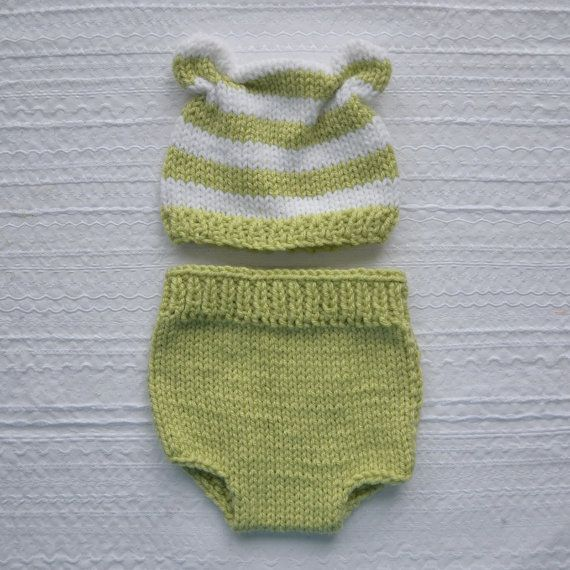 RTS Newborn Baby Knit Outfit BaBY PHoTO PRoP Bear Hat Diaper Cover Set UNiSeX Lime White Stripe AniMAL BeANiE Coming Home SHoWeR GiFT Infant