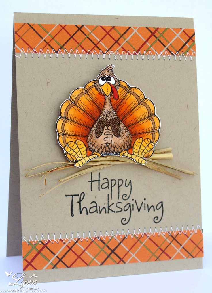 Thanksgiving card...luv this image!!...beautifully colored...kraft on orange plaid=great combo fo autumn cards...