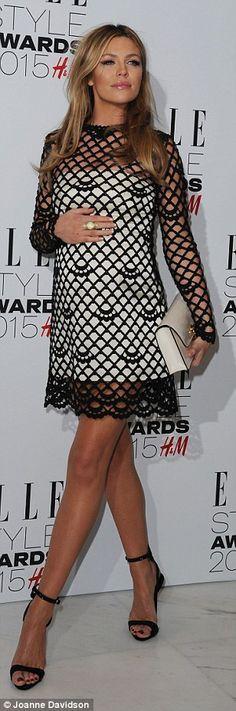 Stylish: Pregnant Abbey Clancy looked sensational in a black crocheted mini over…  – trabalha em crochê