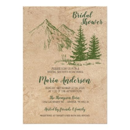 Rustic Mountain Bridal Shower Invitation - rustic gifts ideas customize personalize