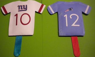 Superbowl Themed Craft: Football Jersey Shakers | Macaroni Kid