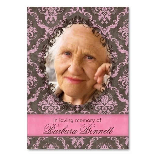 Memorial Photo Card Vintage Damask Pink Brown Business Card Templates $28.95 / 100 pack :: click for SALES!!