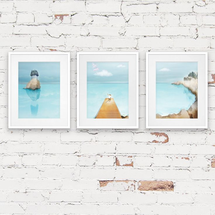 ocean adventure print set, nursery print set, SET OF 3 PRINTS, baby boys room prints, boys nautical wall art, sailing boat, sea theme art by commonwild on Etsy