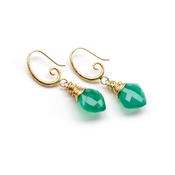 24K Gold Plated Green Onyx Earrings by JevaJewels on Etsy