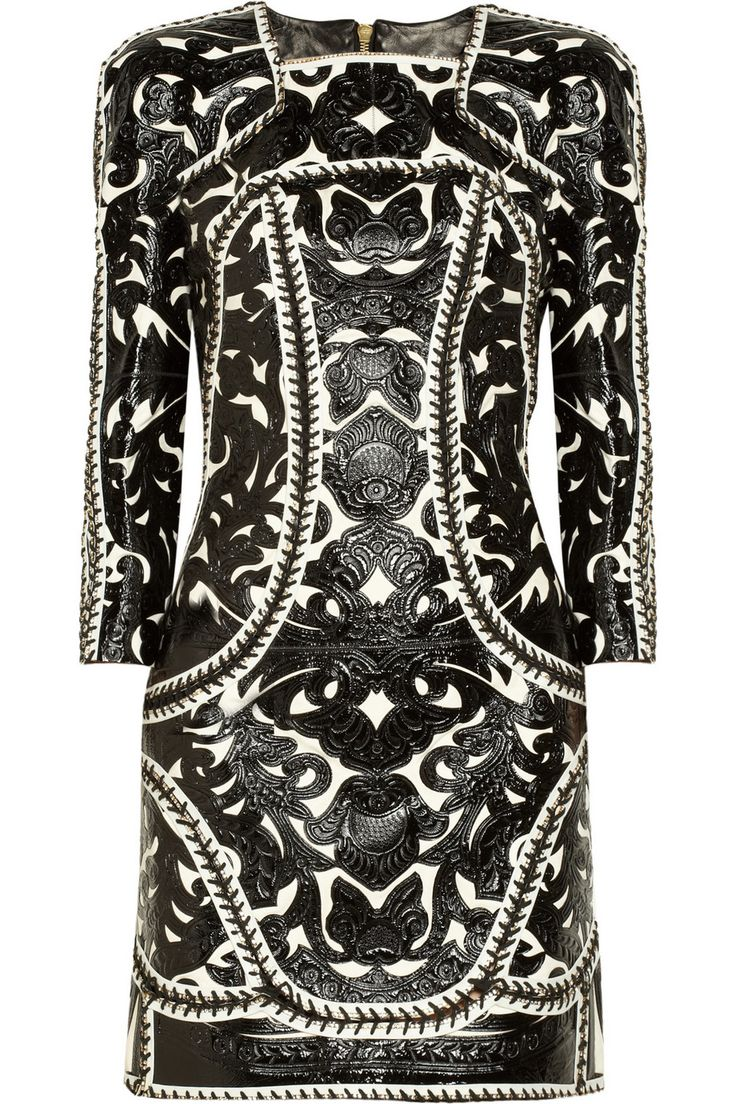 Embellished glossed-leather and suede dress by Balmain