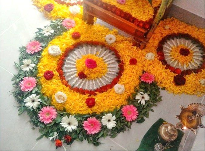 small rangoli designs with flowers